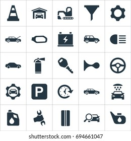 Vector Illustration Set Of Simple Car Icons. Elements Sprinkler, Vehicle Building, Fuel And Other Synonyms Wrench, Working And Sprinkler.