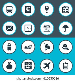 Vector Illustration Set Of Simple Carting Icons. Elements Holdall , Hand , Passport Synonyms Airline, Road And Identity.
