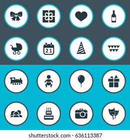 Vector Illustration Set Of Simple Celebration Icons. Elements Resonate, Train, Mask And Other Synonyms Feelings, Box And Ribbon.