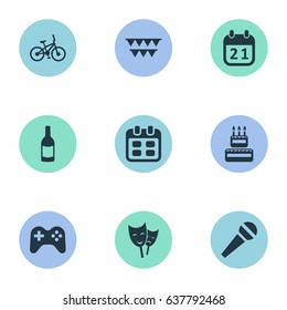 Vector Illustration Set Of Simple Celebration Icons. Elements Mask, Speech, Bicycle And Other Synonyms Champagne, Game And Theater.