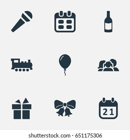 Vector Illustration Set Of Simple Celebration Icons. Elements Aerostat, Domestic, Days And Other Synonyms Resonate, History And Microphone.