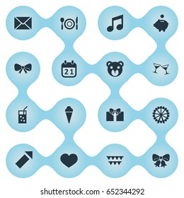 Vector Illustration Set Of Simple Celebration Icons. Elements Sound Note, Envelope, Salute And Other Synonyms Soul, Ice And Jingle.