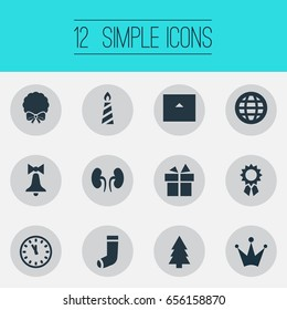 Vector Illustration Set Of Simple Celebration Icons. Elements Clock, Christmas Decoration, Crown And Other Synonyms Gift, Cottage And Earth.