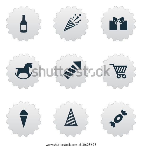 Vector Illustration Set Simple Celebration Icons Stock Vector Royalty Free 610625696