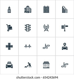 Vector Illustration Set Of Simple City Icons. Elements Staircase,  Megapolis, Location And Other