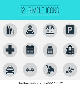 Vector Illustration Set Of Simple City Icons. Elements Connection, Staircase, Kiosk And Other Synonyms Intersection, Manufacture And Cityscape.