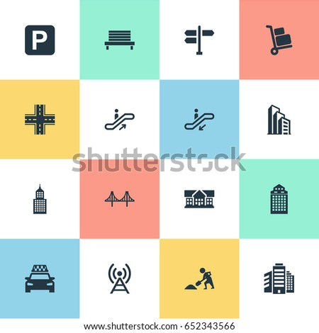 Vector Illustration Set Simple City Icons Stock Vector Royalty Free