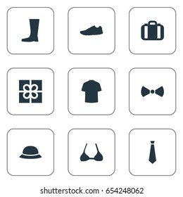 Vector Illustration Set Of Simple Clothes Icons. Elements Brasserie, Luggage, Formal Wear And Other Synonyms Tuxedo, Top And Present.