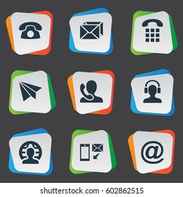 Vector Illustration Set Of Simple Connect Icons. Elements Telephone, Aircraft, House Phone And Other Synonyms Home, Plane And Calling.