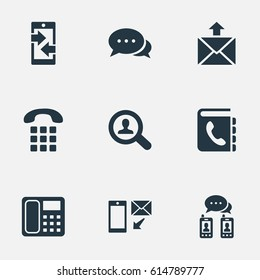 Vector Illustration Set Of Simple Contact Icons. Elements Monitor, House Phone, Job Research And Other Synonyms Mailing, Handset And Send.