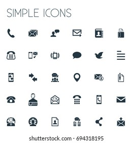 Vector Illustration Set Of Simple Contact Icons. Elements Pin, Resume, New-Come Letter And Other Synonyms Pin, Home And Fax.