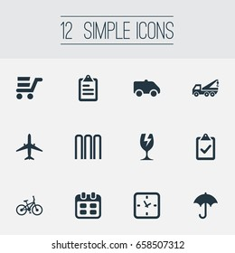 Vector Illustration Set Of Simple Conveyance Icons. Elements Clipboard, Gingham, Pushcart And Other Synonyms Agenda, Gingham And Shopping.