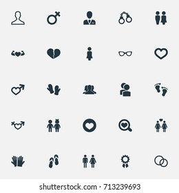 Vector Illustration Set Of Simple Couple Icons. Elements Spectacles, Rings, Madame And Other Synonyms Lock, People And Valentine.