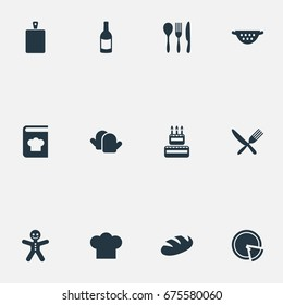 Vector Illustration Set Of Simple Cuisine Icons. Elements Chief Cook, Recipes, Italian Cuisine And Other Synonyms Cutlery, Recipes And Italy.