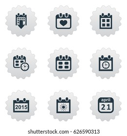 Vector Illustration Set Of Simple Date Icons Elements Event Summer Calendar Annual And