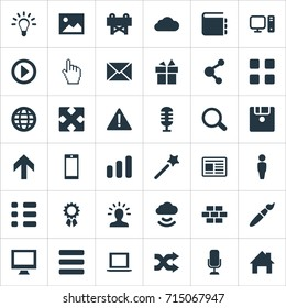 Vector Illustration Set Of Simple Design Icons. Elements Wizard Stick, Randomize, Monitor Synonyms Shuffle, Microphone And Navigation.