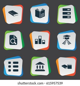 Vector Illustration Set Of Simple Education Icons. Elements Library, Knowledge, Stack And Other Synonyms Textbook, Document And Checkbox.