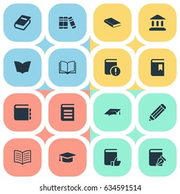 Vector Illustration Set Of Simple Education Icons. Elements Notebook, Book Cover, Blank Notebook And Other Synonyms Book, Page And Sketchbook.