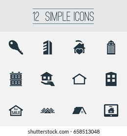 Vector Illustration Set Of Simple Estate Icons. Elements Carcass, Comfort, Hut And Other Synonyms Multistory, Monitor And Sale.