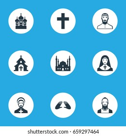 Vector Illustration Set Of Simple Faith Icons. Elements Chaplain, Christian, Taoism And Other Synonyms Priest, Blessing And Sister.