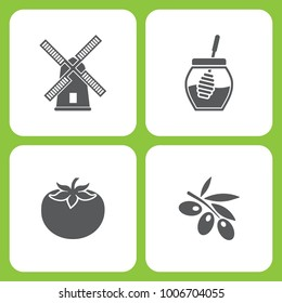 Vector Illustration Set Of Simple Farm and Garden Icons. Elements Mill, Honey, Tomato, Olives  on white background
