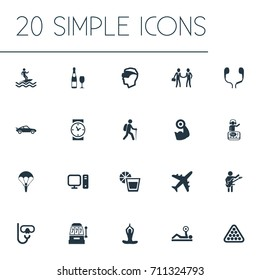 Vector Illustration Set Of Simple Fashion Icons. Elements Meditation, Surfer, Night Club And Other Synonyms Surf, Leisure And Champagne.