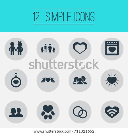 Vector Illustration Set Simple Feelings Icons Stock Vector
