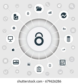 Vector Illustration Set Of Simple Finance Icons. Elements Increase, Purse, Earnings And Other Synonyms Document, Aim And Plan.