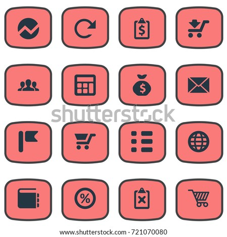 vector illustration set simple financial icons stock vector royalty