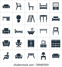 Vector Illustration Set Of Simple Furnishings Icons. Elements Contemporary Design, Crib, Seat And Other Synonyms Chest, Display And Bedside.