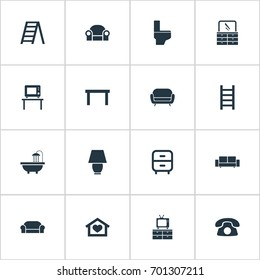 Vector Illustration Set Of Simple Furniture Icons. Elements Divan, Flat-Screen, Table And Other Synonyms Lounge, Cushion And Illuminator.