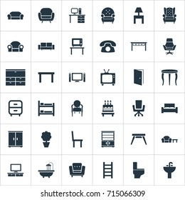 Vector Illustration Set Of Simple Furniture Icons. Elements Bathroom, Cinema System, Tv And Other Synonyms Folding, Lounge And Cinema.