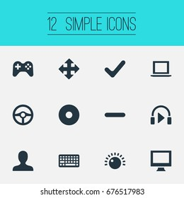 Vector Illustration Set Of Simple Game Icons. Elements Minus, Keyboard, Sound And Other Synonyms Mark, Monitor And Minus.