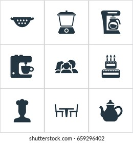 Vector Illustration Set Of Simple Gastronomy Icons. Elements Coffee Maker, Cake, Blender And Other Synonyms Dinning, Hat And Chef.