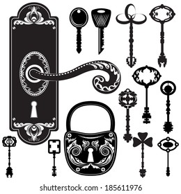 Vector illustration of a set of simple graphic black and white keys, lock and handle suitable for a tattoo or as design elements