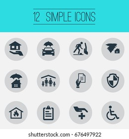 Vector Illustration Set Of Simple Guarantee Icons. Elements Questionaire, Handicapped, Automobile Synonyms Hurricane, Protect And Medical.