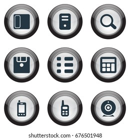 Vector Illustration Set Of Simple Hardware Icons. Elements Save, Call, Schedule And Other Synonyms List, Telephone And Floppy.