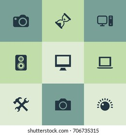 Vector Illustration Set Of Simple Hardware Icons. Elements Monitor, Personal Computer, Camcorder And Other Synonyms Camera, Knob And Photographing.