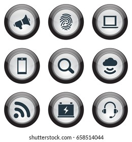 Vector Illustration Set Of Simple Hitech Icons. Elements Cloud Signal, Smartphone, Portable Computer And Other Synonyms Scanner, Hailer And Laptop.