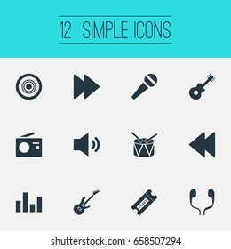 Vector Illustration Set Of Simple Icons. Elements Compact Disk, Headphones, Broadcasting Appliance And Other Synonyms Headphone, Metal And Tunes.