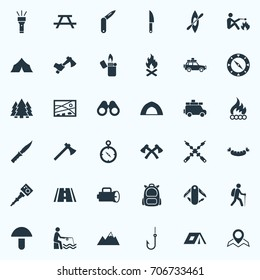 Vector Illustration Set Of Simple  Icons. Elements Fishing, Flame, Location And Other Synonyms Grilled, Compass And Hook.