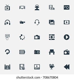 Vector Illustration Set Of Simple  Icons. Elements Begin, Television, Smartphone And Other Synonyms Movies, Playlist And Player.
