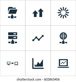 Vector Illustration Set Of Simple Information Icons. Elements Increase Graph, Increase, Digital Documnet And Other Synonyms Progress, Internet And Folder.