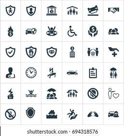 Vector Illustration Set Of Simple Insurance Icons. Elements Heart, Reliability, Bankroll And Other Synonyms Couple, Hand And Cripple.