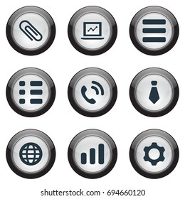 Vector Illustration Set Of Simple Interaction Icons. Elements Tasks, Cogwheel, Cravat And Other Synonyms List, Increase And Reminder.