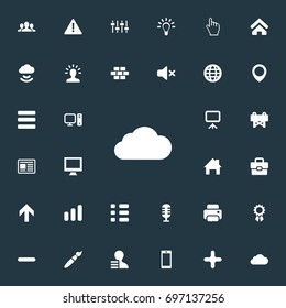 Vector Illustration Set Of Simple Interface Icons. Elements Pointer, Winner, Upwards And Other Synonyms Bar, Bricks And Brush.