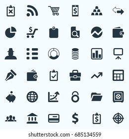 Vector Illustration Set Of Simple Investment Icons. Elements Calculator, Earnings, Task And Other Synonyms Presentation, Access And Plan.