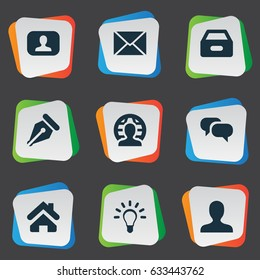 Vector Illustration Set Of Simple Job Icons. Elements Lamp, Chatting, Representative And Other Synonyms Earth, Dossier And Letter.