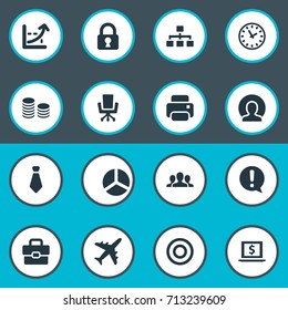 Vector Illustration Set Of Simple Job Icons. Elements Circle, Printing Machine, Suitcase And Other Synonyms Caution, Tie And Pie.