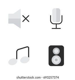 Vector Illustration Set Of Simple Melody Icons. Elements Speaker, Music Sign, Volume And Other Synonyms Speaker, Sound And Note.